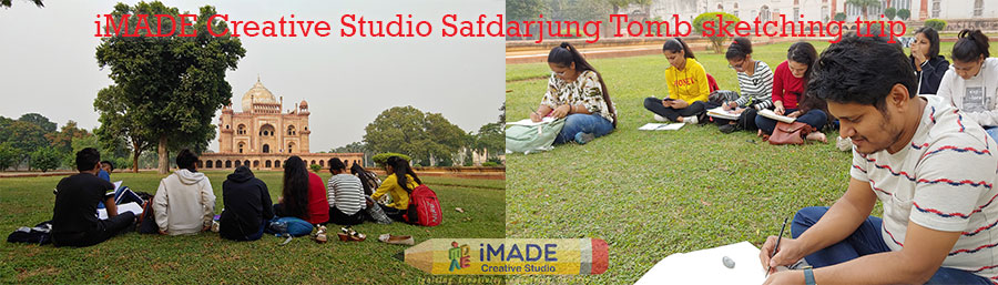 Safdarjung tomb sketching trip, outdoor sketching, art classes, drawing classes, architectural drawings